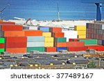 cargo container  pipe and grain ... | Shutterstock . vector #377489167