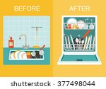 dirty sink with kitchenware ... | Shutterstock .eps vector #377498044