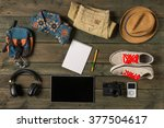 mock up of summer traveling... | Shutterstock . vector #377504617