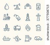oil industry line icons | Shutterstock .eps vector #377508715