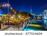 people dancing at summer... | Shutterstock . vector #377514604