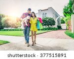 couple with dog and real estate ... | Shutterstock . vector #377515891
