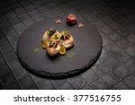 haute cuisine scallops served... | Shutterstock . vector #377516755