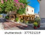 plaka area near acropolis ... | Shutterstock . vector #377521219