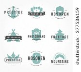 retro hand drawn logos vector... | Shutterstock .eps vector #377536159