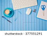 creative workplace concept with ... | Shutterstock . vector #377551291