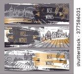 set of 3 original wine label... | Shutterstock .eps vector #377586031