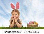 cute little child girl wearing... | Shutterstock . vector #377586319