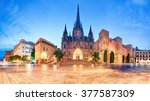 cathedral of barcelona  gothic... | Shutterstock . vector #377587309