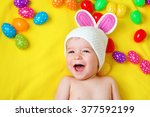 Baby Boy In Bunny Hat Lying On...