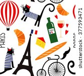 Cartoon French Culture Symbols...