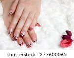 french manicure   beautiful... | Shutterstock . vector #377600065
