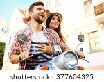 couple in love riding a... | Shutterstock . vector #377604325