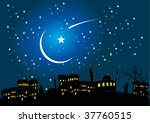 night  children and the mosque | Shutterstock .eps vector #37760515