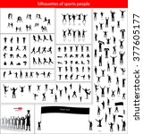 silhouettes of sports people.... | Shutterstock .eps vector #377605177