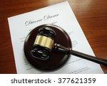 divorce decree document with... | Shutterstock . vector #377621359