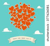 red heart shaped balloons.... | Shutterstock .eps vector #377626081