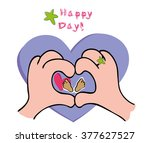 new born baby card and hands... | Shutterstock .eps vector #377627527
