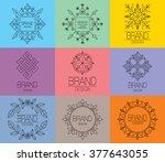 set of art line brand elements. ... | Shutterstock .eps vector #377643055