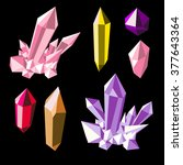 colorful shiny bright crystals. ... | Shutterstock .eps vector #377643364