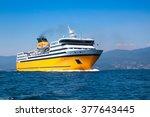 big yellow passenger ferry goes ... | Shutterstock . vector #377643445