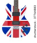 Electric guitar close-up with a graphic of the British flag