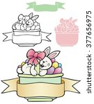 bunny in a basket of eggs with... | Shutterstock .eps vector #377656975