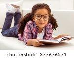 cute little afro american girl... | Shutterstock . vector #377676571