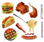 fast food  set vector icons | Shutterstock .eps vector #377709079