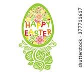 happy easter card vector... | Shutterstock .eps vector #377711617