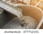 pouring cement during for... | Shutterstock . vector #377712151