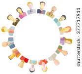 group of people around circle... | Shutterstock .eps vector #377717911