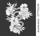 snakes and flowers. tattoo art  ... | Shutterstock .eps vector #377731144