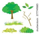 tree leaves grass bush branch... | Shutterstock .eps vector #377749885