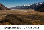 Small photo of Alluvial plain of Mountain Cook National park, New Zealand