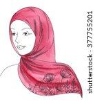 beautiful face of arabic muslim ... | Shutterstock . vector #377755201