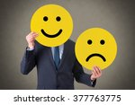 unhappy and happy smile | Shutterstock . vector #377763775