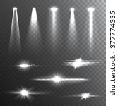 white beam lights set of... | Shutterstock .eps vector #377774335