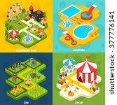 amusement park with aqua... | Shutterstock .eps vector #377776141