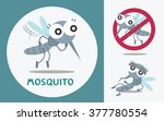 Set Of Cute Mosquito. Vector...