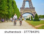 romantic couple riding bicycles ... | Shutterstock . vector #377784391