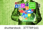 business man using tablet pc... | Shutterstock . vector #377789161