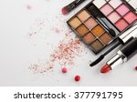 makeup products on white... | Shutterstock . vector #377791795
