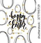 happy easter lettering egg.... | Shutterstock .eps vector #377795719