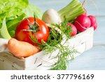 spring vegetables in the basket ... | Shutterstock . vector #377796169