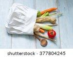 vegetables in chef's hat...   Shutterstock . vector #377804245
