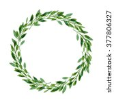 minimalist watercolor wreath.... | Shutterstock . vector #377806327