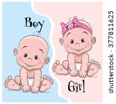 two cute cartoon babies boy and ... | Shutterstock .eps vector #377811625