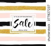 seamless striped gold rose...   Shutterstock .eps vector #377827237