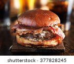 juicey gourmet cheeseburger...   Shutterstock . vector #377828245